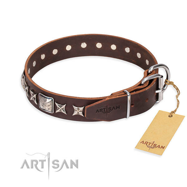 Handy use full grain leather collar with decorations for your dog