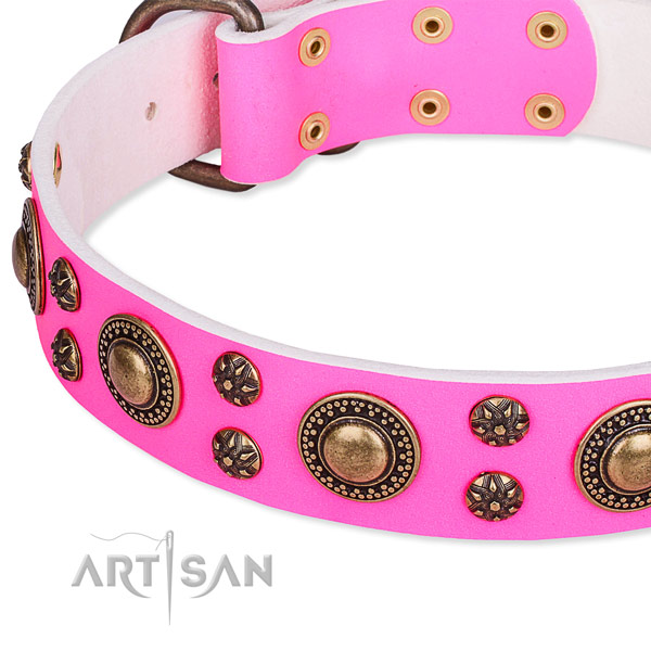 Natural genuine leather dog collar with inimitable embellishments