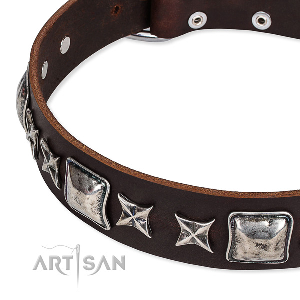 Full grain genuine leather dog collar with decorations for comfy wearing