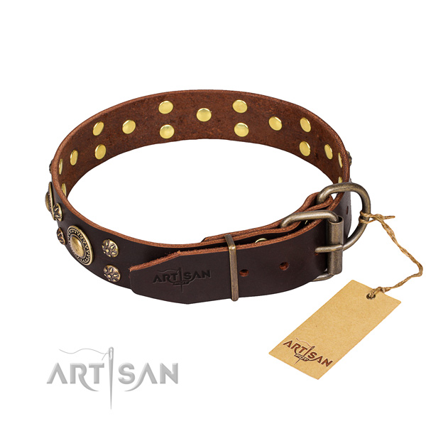 Handy use natural genuine leather collar with embellishments for your dog