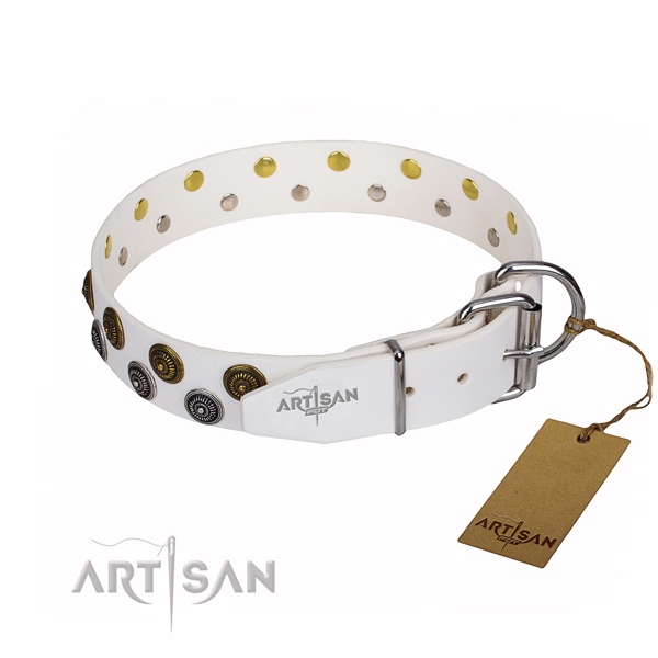 Handy use genuine leather collar with embellishments for your canine