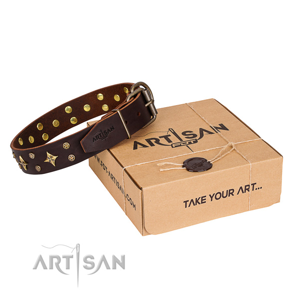 Decorated full grain genuine leather dog collar for easy wearing