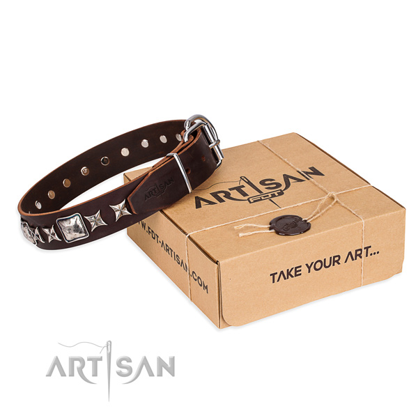 Decorated full grain genuine leather dog collar for walking
