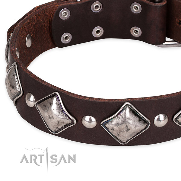 Easy to put on/off leather dog collar with almost unbreakable durable hardware