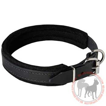 Leather dog cololoar with adjustable buckle