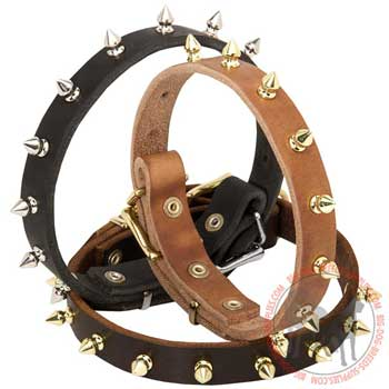 Dog Leather Collar with Steel Nickel Plated Spikes