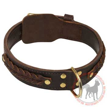 Leather Canine Collar with Gorgeous Decoration