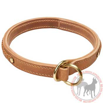 Braided Leather Choke Collar for Large Dogs
