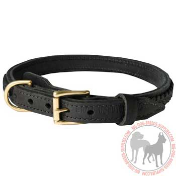 Leather Dog Collar with Stylish Braid
