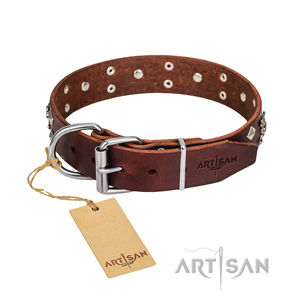 Durable leather dog collar with corrosion-resistant elements