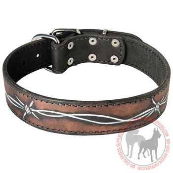 Leather Collar Painted in Barbed Wire
