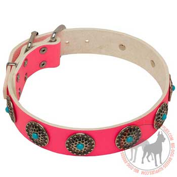 Leather Dog Collar of Pink Color
