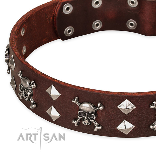 NaturalAwesome leather dog collar for fail-safe use
