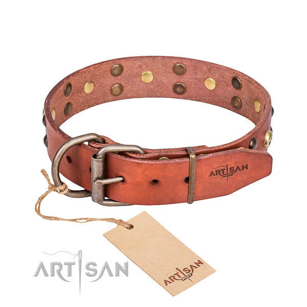Leather dog collar with worked out edges for convenient daily walking