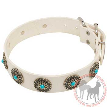 Leather Dog Collar with Blue Stones