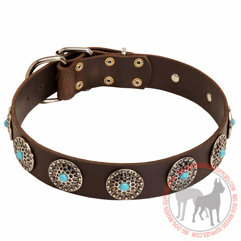 Center Ring Dog Collar Black Leather