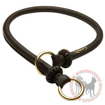 Silent in action leather braided dog choke collar
