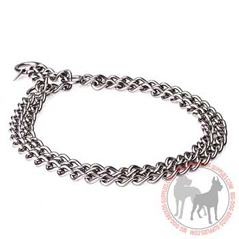 Metal Choke Dog Collar with 2 Chain Rows