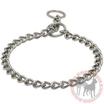 Steel and chrome plated training dog choke collar