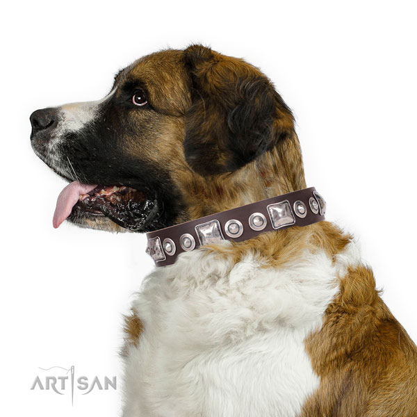 Exquisite decorated natural leather dog collar for comfortable wearing