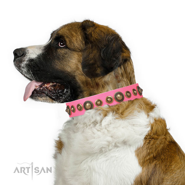 Rust-proof buckle and D-ring on leather dog collar for everyday use