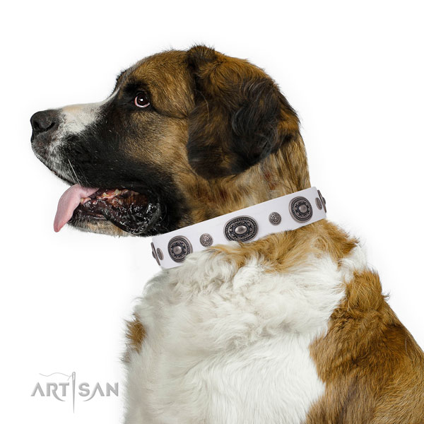 Genuine leather dog collar with corrosion proof buckle and D-ring for comfortable wearing