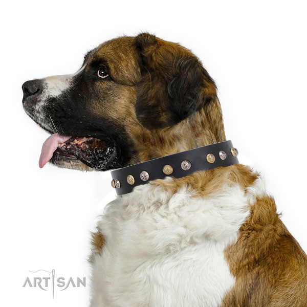 Natural leather dog collar with corrosion proof buckle and D-ring for comfy wearing