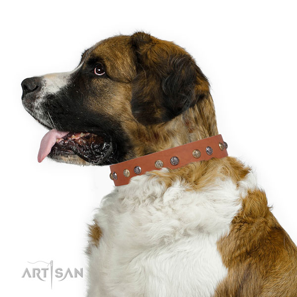 Natural leather dog collar with durable buckle and D-ring for walking
