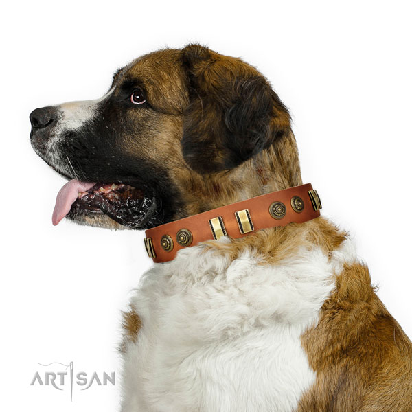 Corrosion resistant hardware on natural leather dog collar for handy use