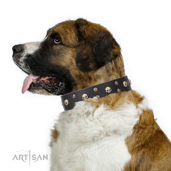 Moscow Watchdog fashionable genuine leather dog collar for daily use