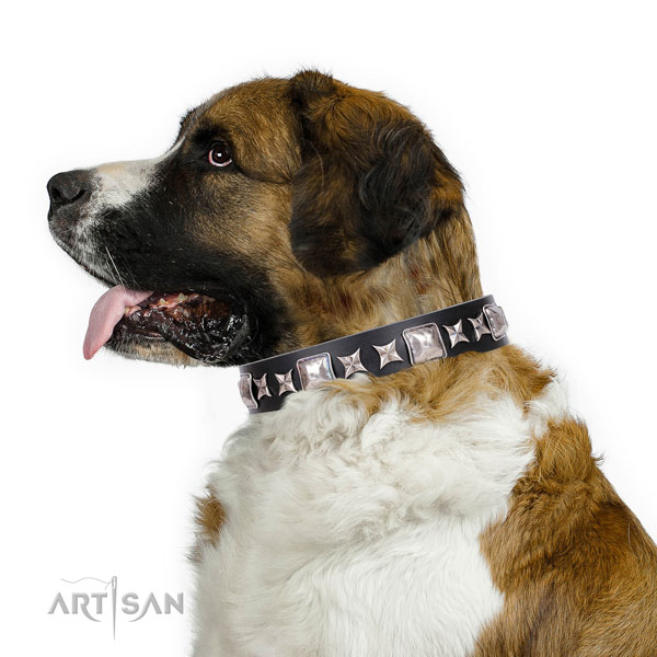 Moscow Watchdog natural genuine leather collar with corrosion resistant D-ring for fancy walking