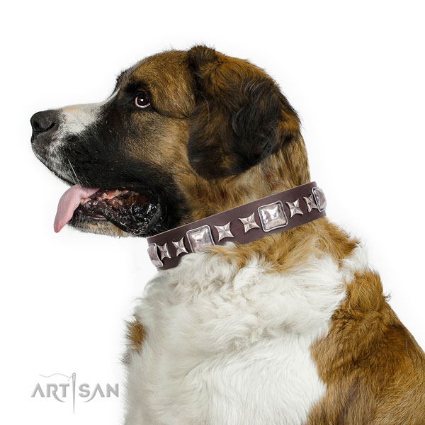 Moscow Watchdog full grain genuine leather collar with corrosion proof traditional buckle for comfortable wearing