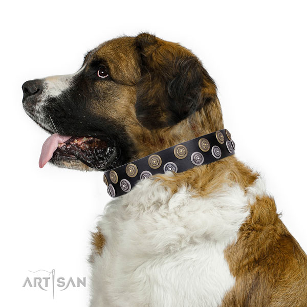 Moscow Watchdog natural genuine leather collar with corrosion proof traditional buckle for comfy wearing