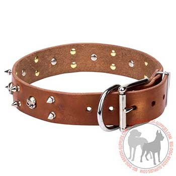 Tan Leather Dog Collar with Nickel-plated Decoration