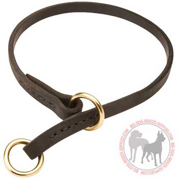 Silent in action leather choke collar