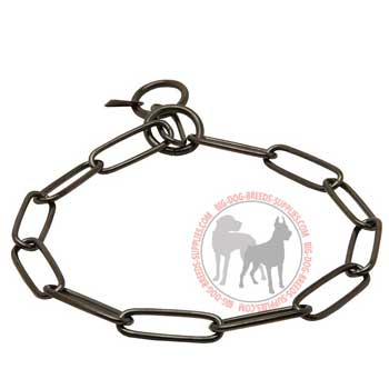 Steel choke dog collar black fur saver