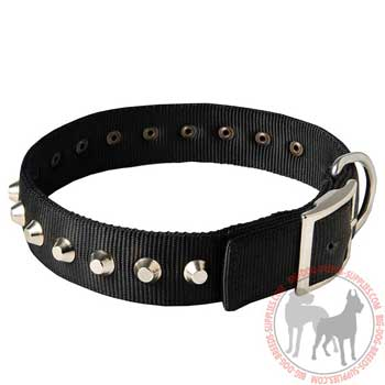 Dog nylon collar with easy release buckle
