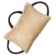 Fashion Jute Bite Pillow - 3 handle bite tug for young dogs