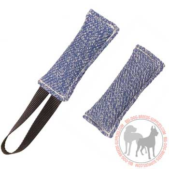 Dog bite tug french linen for retrieve training and bite work