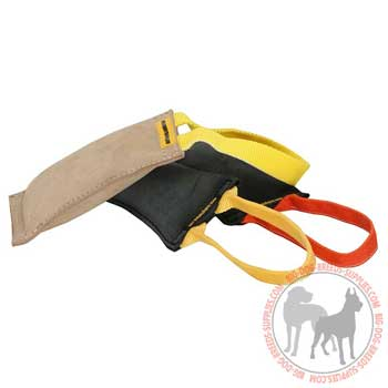 Dog bite tug leather for effective retrieve training