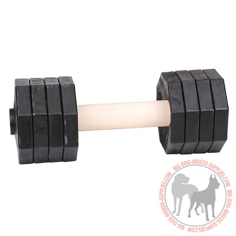 Retrieve Dog Dumbbell With Plastic Plates Reliable Training Of Wood