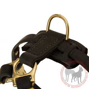 Brass D-ring Stitched to Back Plate of Leather Dog Harness