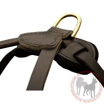 Readily Attachable D-Ring Stitched to Leather Dog Harness for Leash Attachment