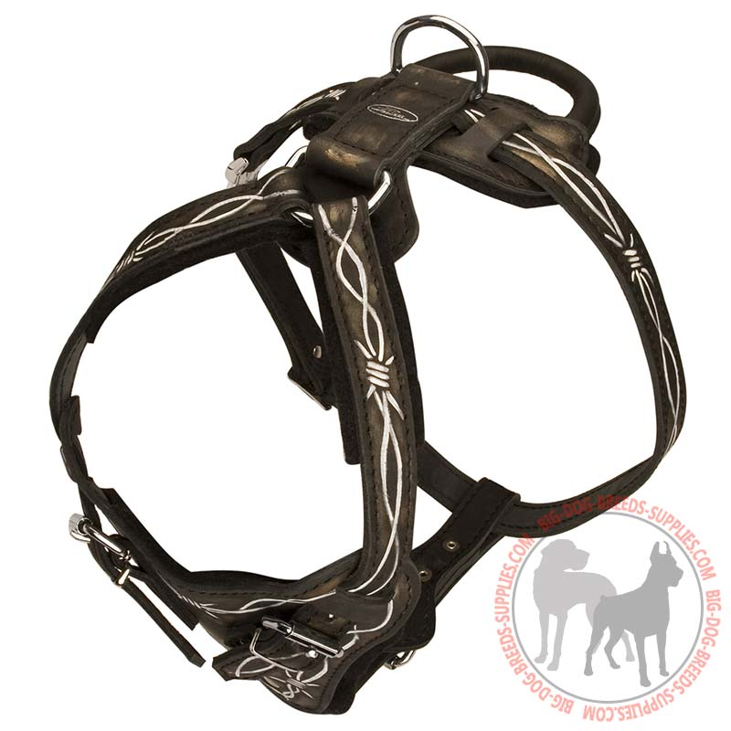 Dog harness leather 4 ways adjustable H1BW big painted leather training dog harness pitbull breed attack work wire dog harness at bayanpartner.co