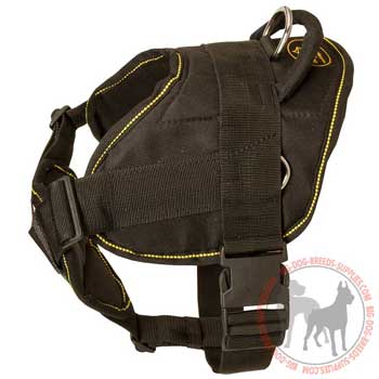 Nylon dog harness with easy quick release buckle