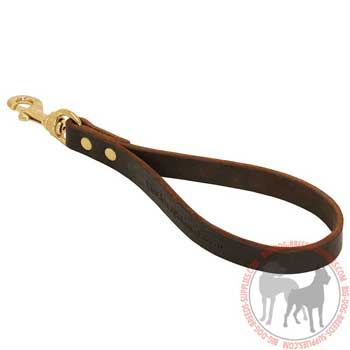 Brown Short Dog Leash with Brass Snap Hook