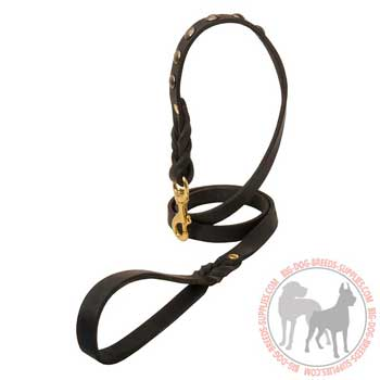 Dog leather leash soft in touch handle