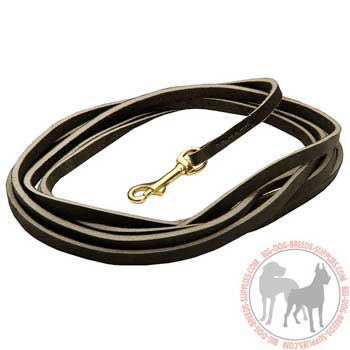 Dog leather leash rust proof snap hook