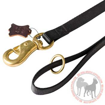 Dog nylon leash floating solid brass ring on the handle