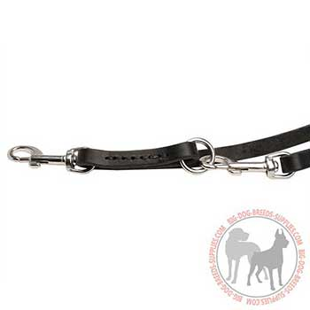 Leather Dog Leash with Floating Rings